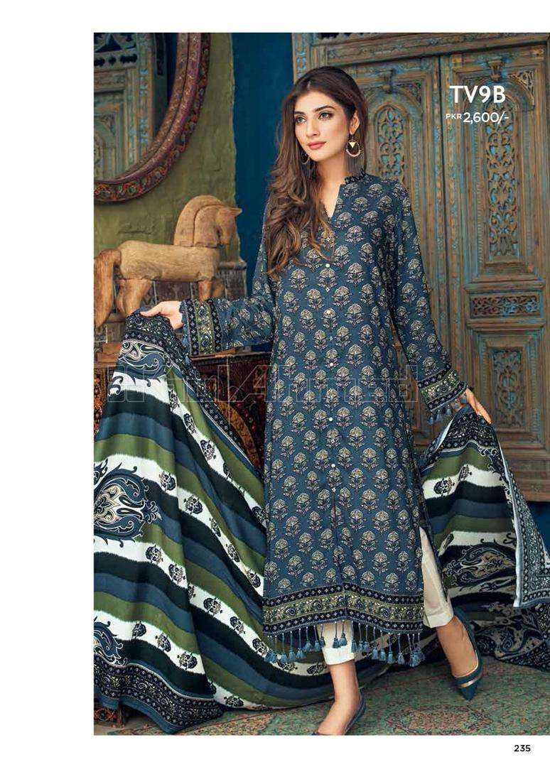 Gul Ahmed Embroidered Linen Unstitched 2 Piece Suit GL17W TV9B