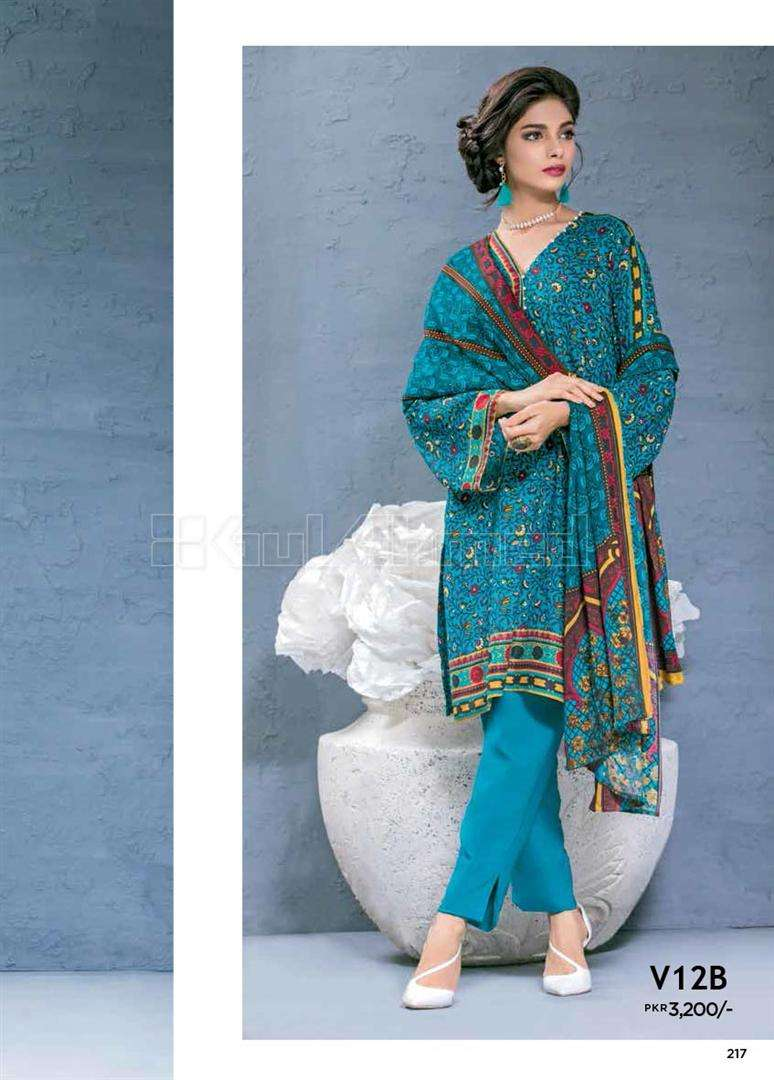 Gul Ahmed Embroidered Linen Unstitched 3 Piece Suit GL17W V12B