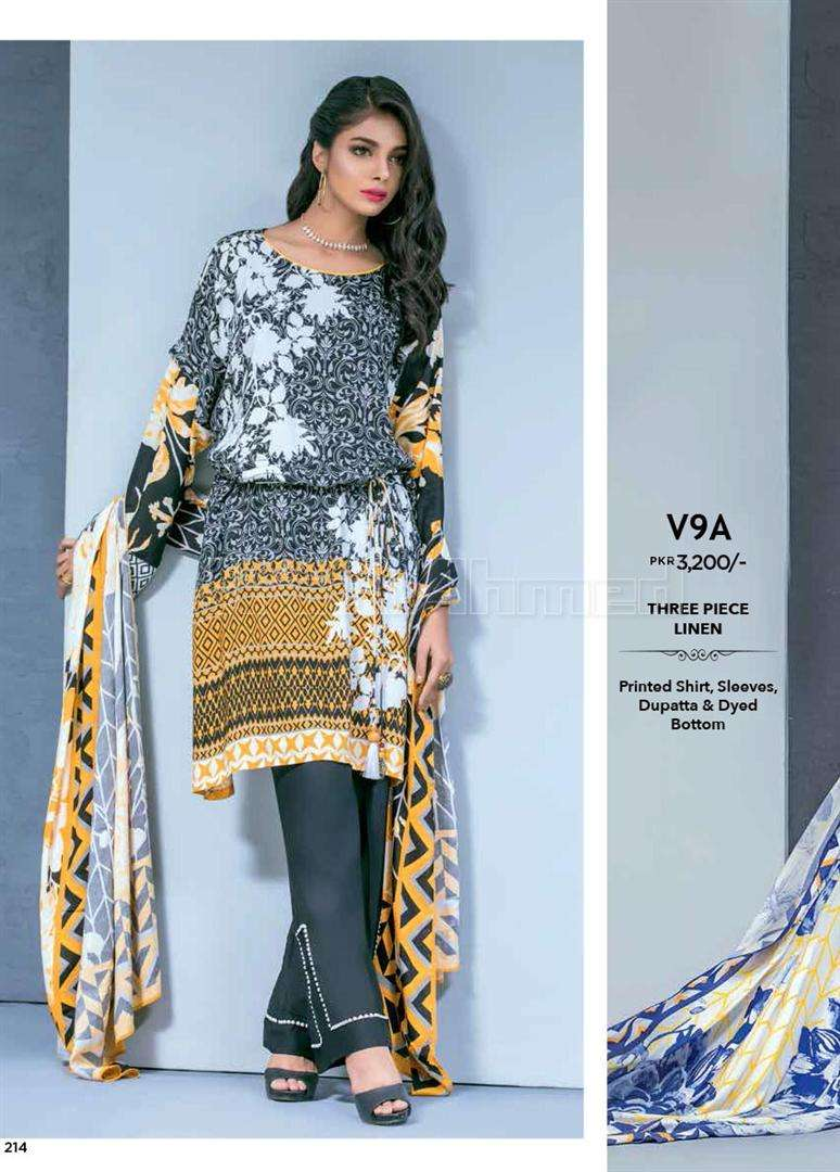 Gul Ahmed Embroidered Linen Unstitched 3 Piece Suit GL17W V9A