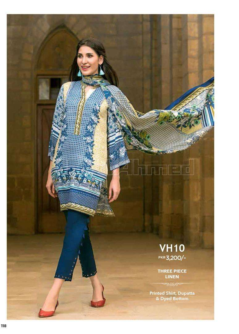 Gul Ahmed Embroidered Linen Unstitched 3 Piece Suit GL17W VH10