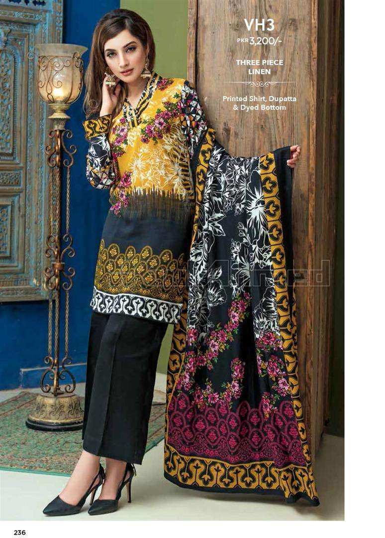 Gul Ahmed Embroidered Linen Unstitched 3 Piece Suit GL17W VH3