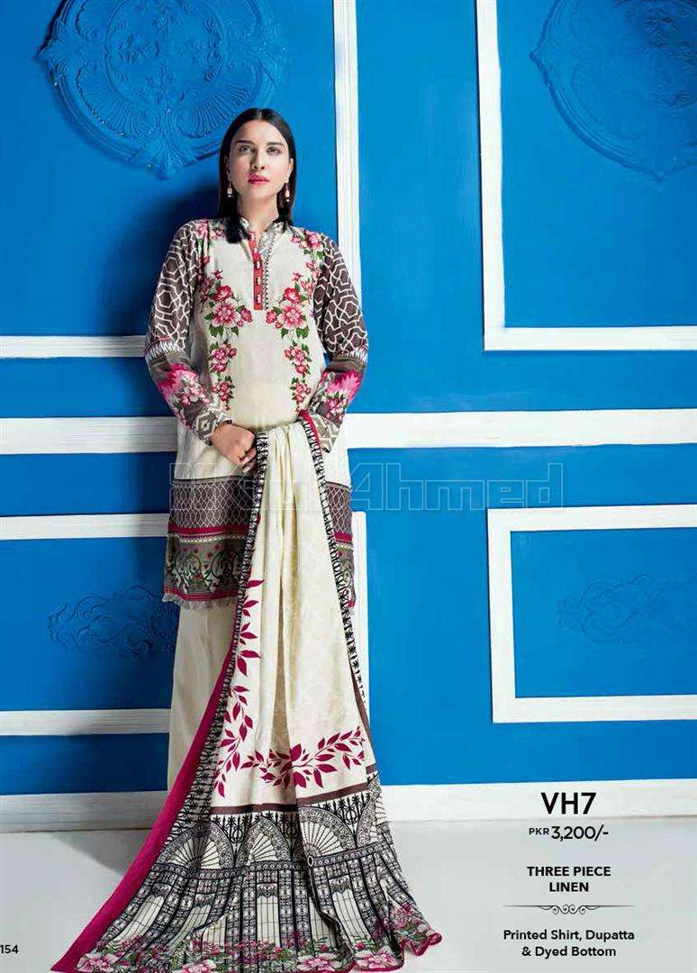 Gul Ahmed Embroidered Linen Unstitched 3 Piece Suit GL17W VH7