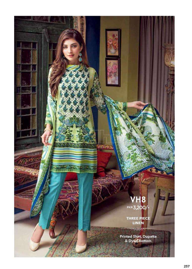 Gul Ahmed Embroidered Linen Unstitched 3 Piece Suit GL17W VH8