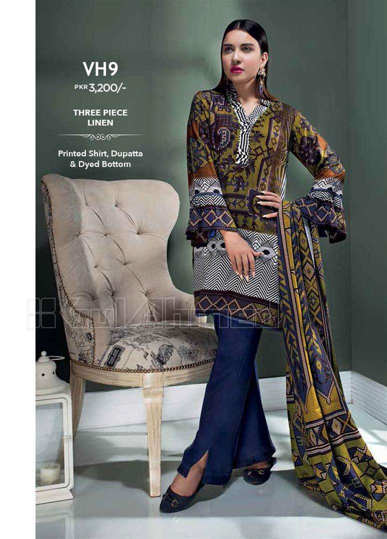 Gul Ahmed Embroidered Linen Unstitched 3 Piece Suit GL17W VH9