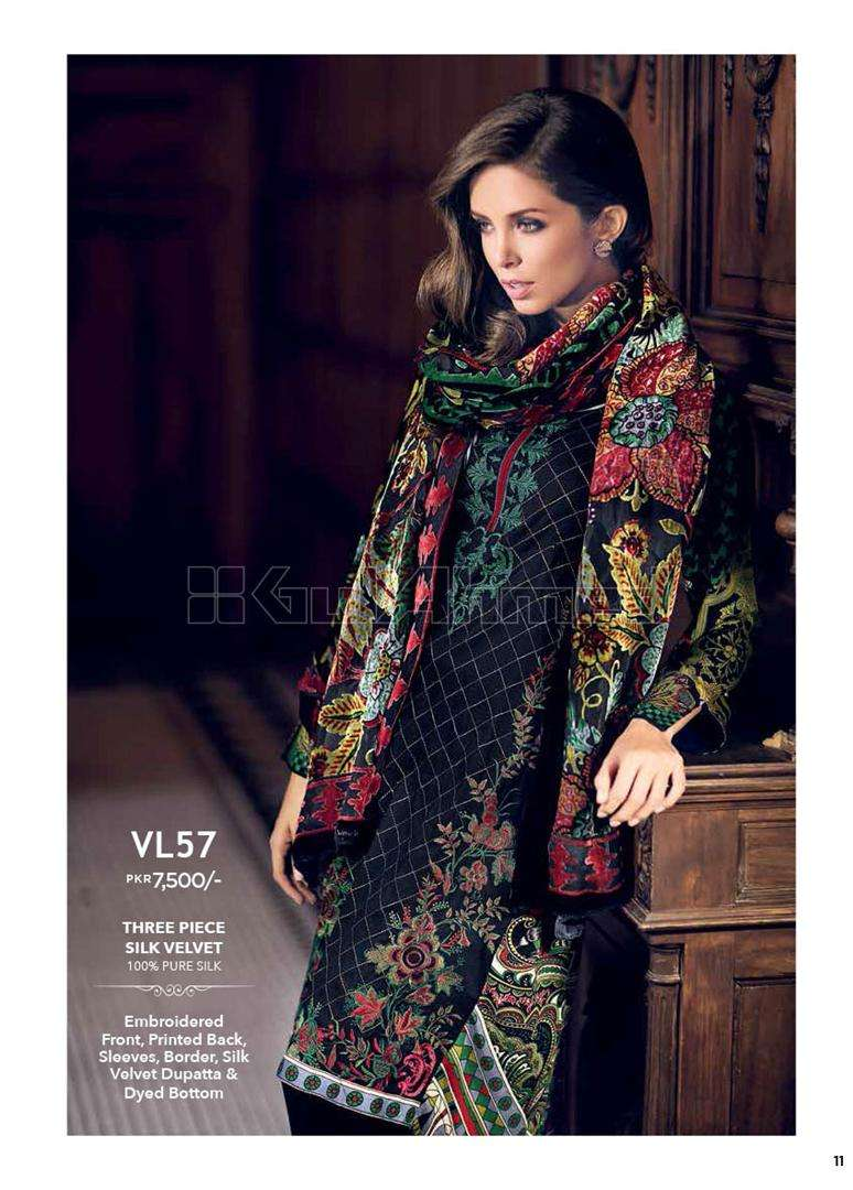 Gul Ahmed Embroidered Linen Unstitched 3 Piece Suit GL17W VL57
