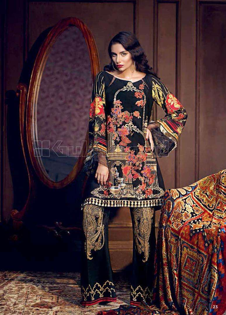 Gul Ahmed Embroidered Linen Unstitched 3 Piece Suit GL17W VL58