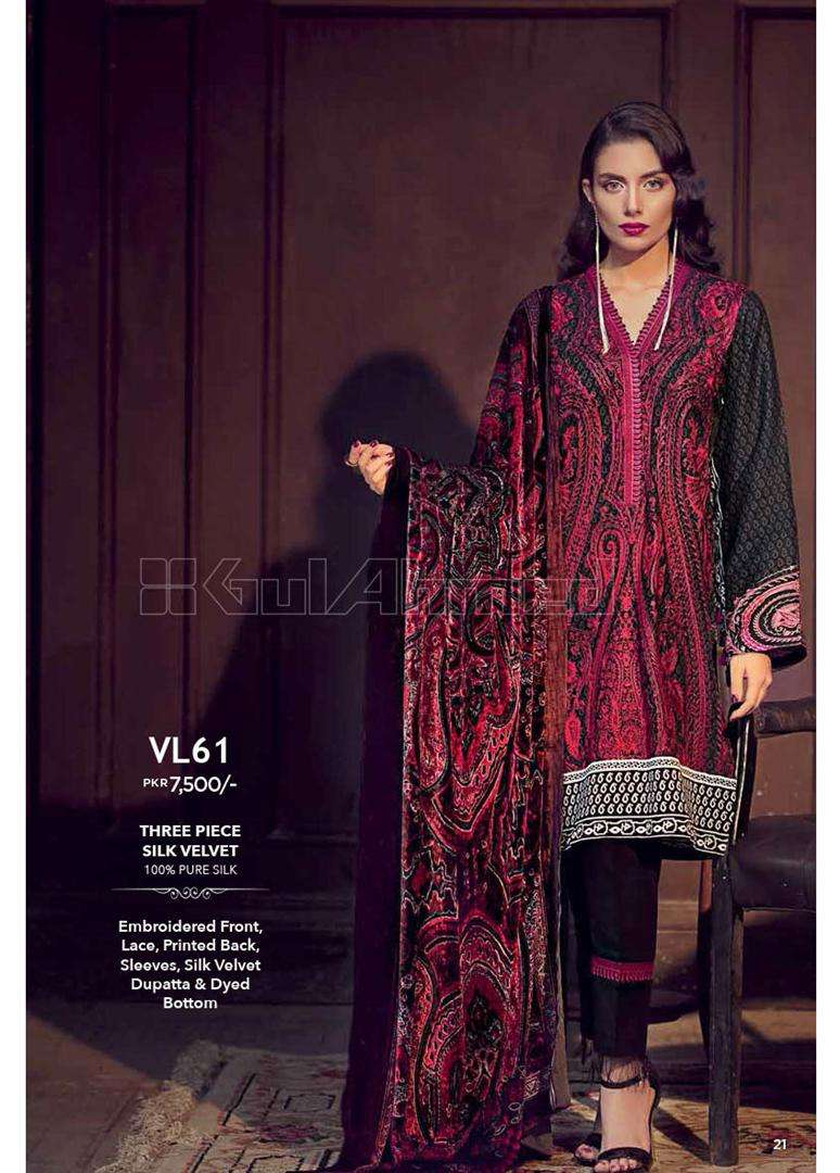 Gul Ahmed Embroidered Linen Unstitched 3 Piece Suit GL17W VL61