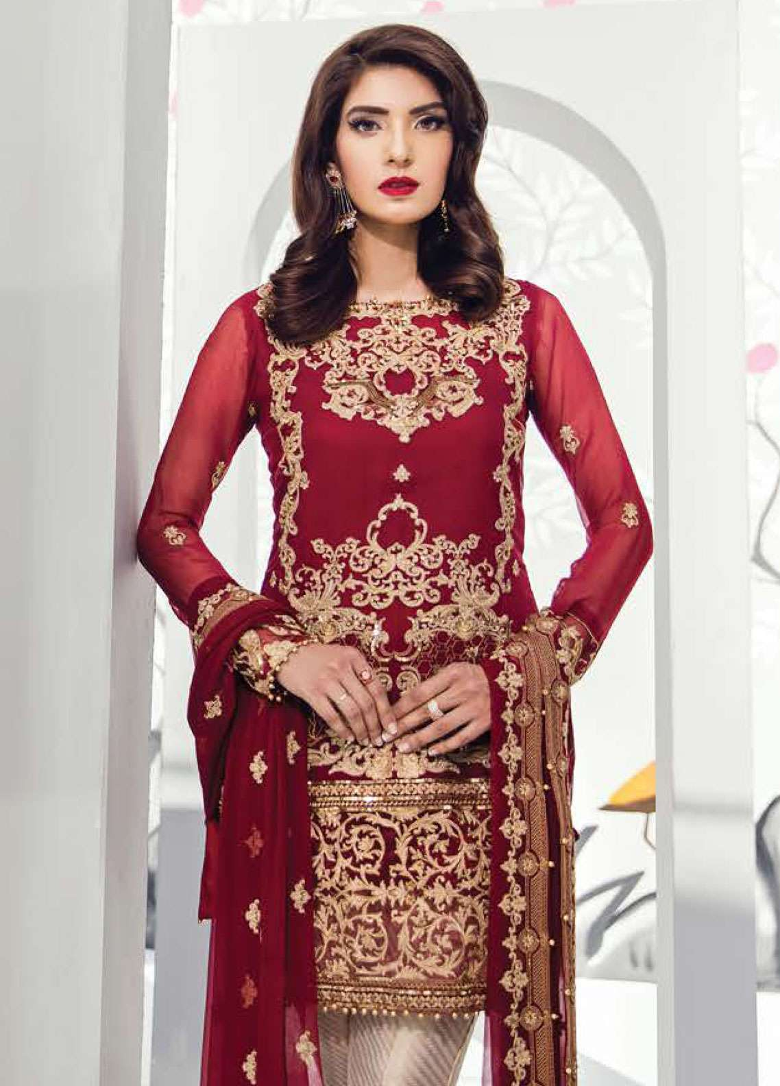 Gulaal Embroidered Chiffon Unstitched 3 Piece Suit GL18E 01 - Festive Collection