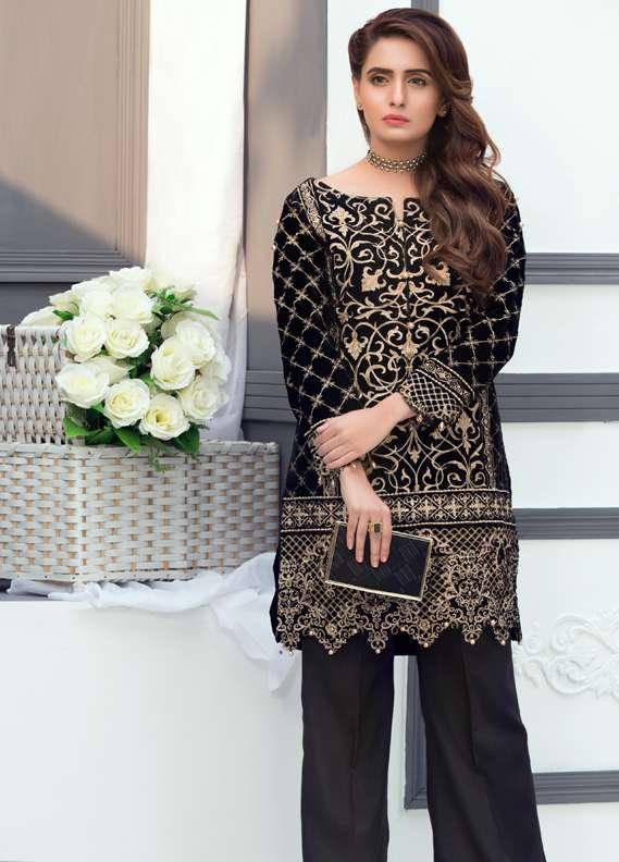 Anahi by Gulaal Embroidered Velvet Stitched Kurtis GLP17K VS01 Black
