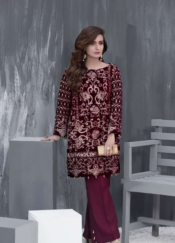 Anahi by Gulaal Embroidered Velvet Stitched Kurtis GLP17K VS02 Maroon