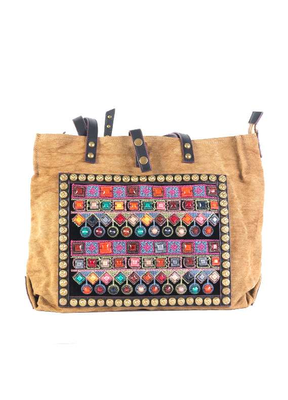 Khaddar Tote Handbags for Women - Gold with Leather Pattern Keyring