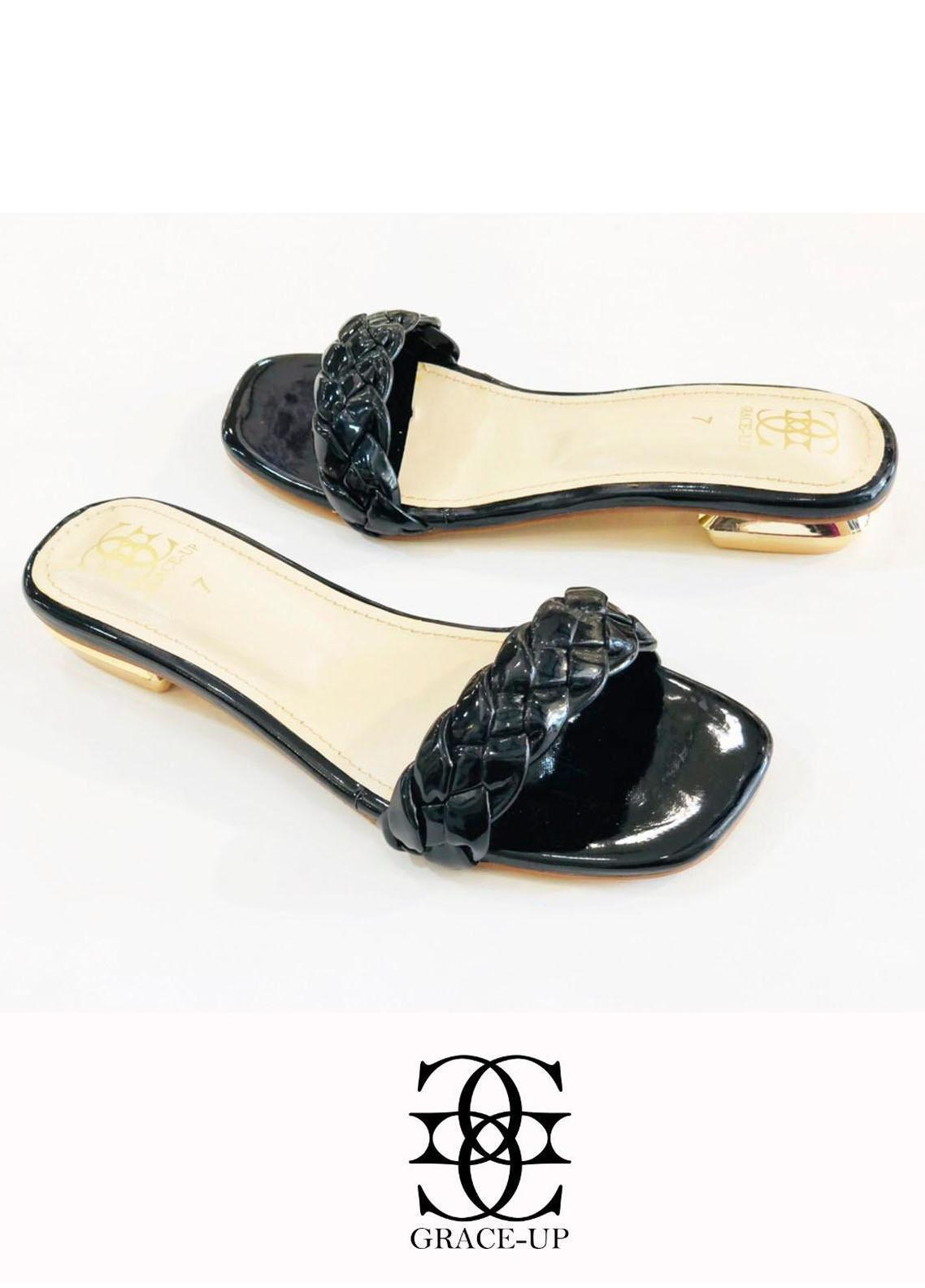 Grace Up Shoes Casual Style  Flat  624 BLACK