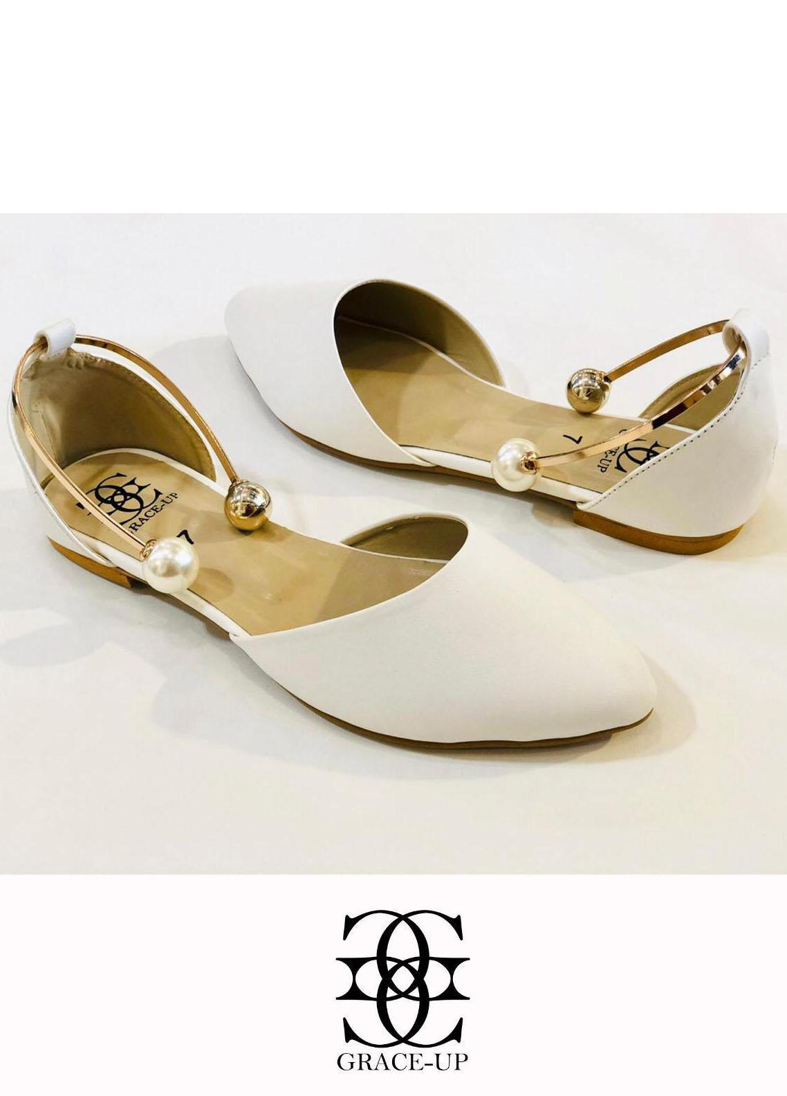 Grace Up Shoes Casual Style  Flat  696 WHITE
