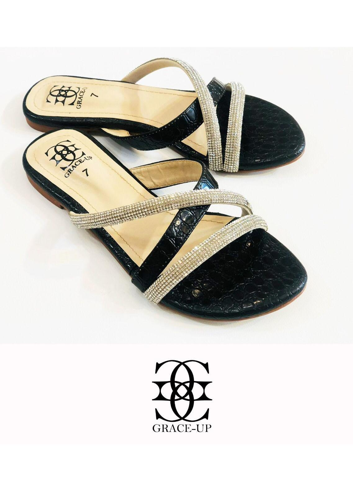 Grace Up Shoes Casual Style  Flat  725 BLACK