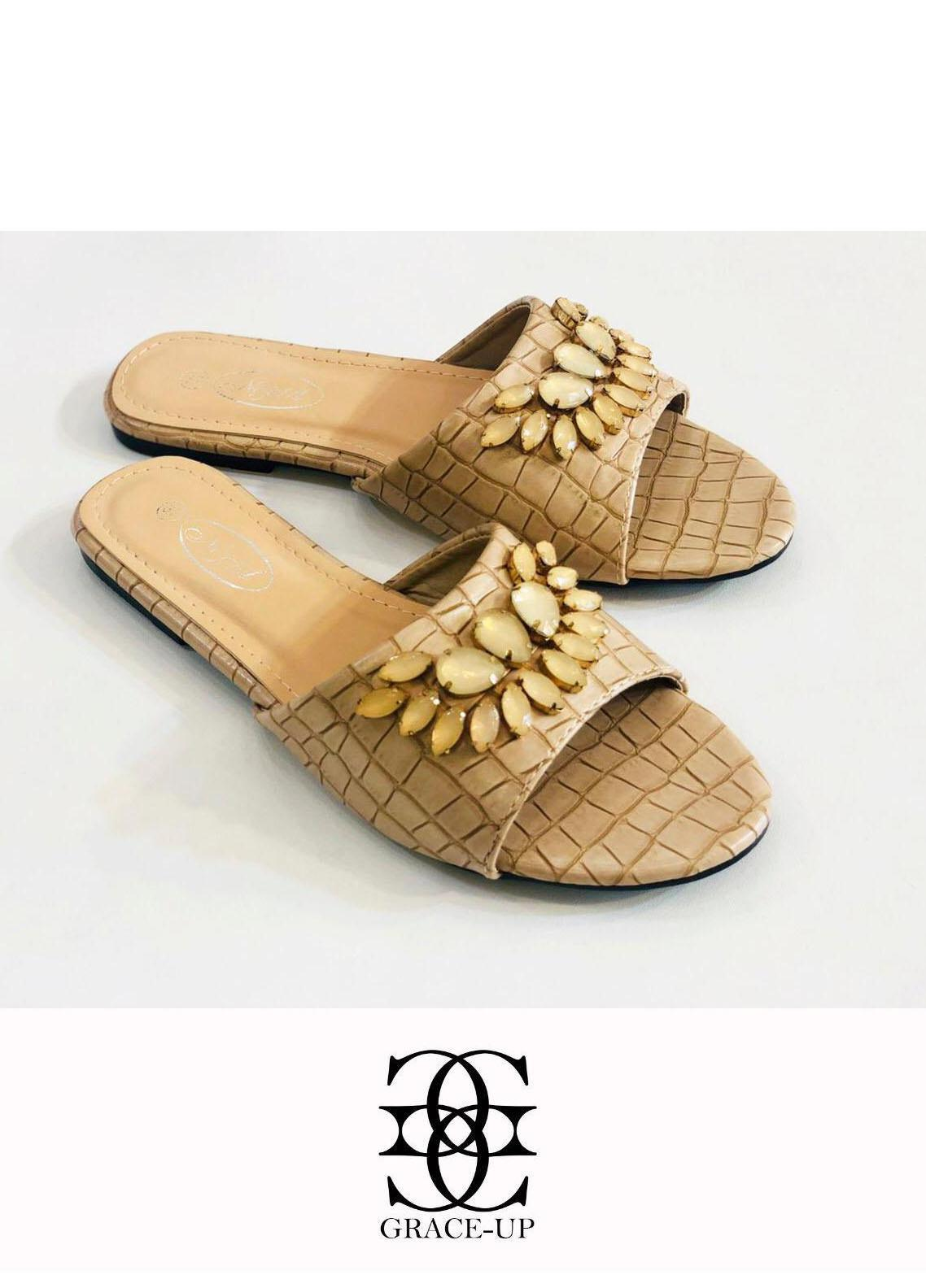 Grace Up Shoes Casual Style  Flat  A326 FAWN