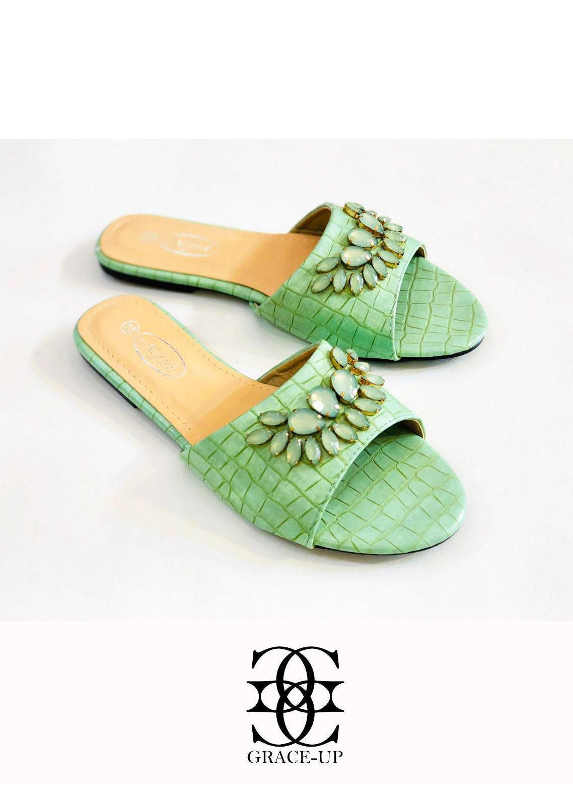 Grace Up Shoes Casual Style  Flat  A326 GREEN