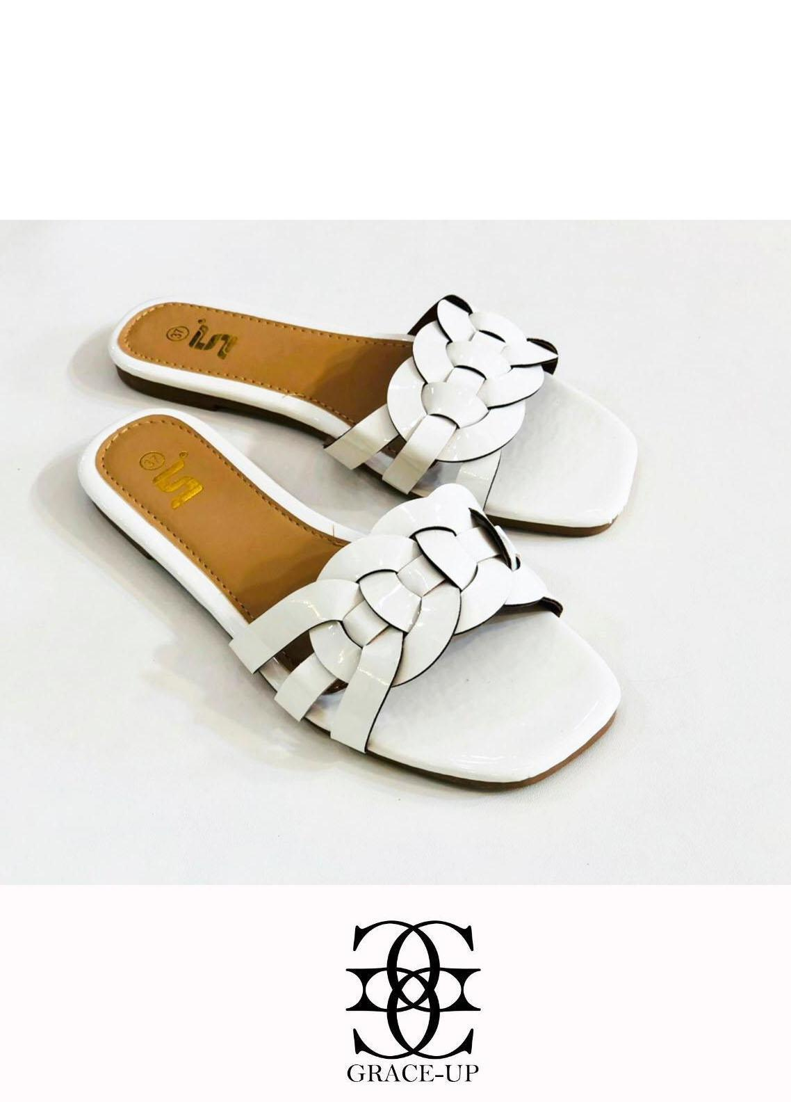 Grace Up Shoes Casual Style  Flat  A331 WHITE