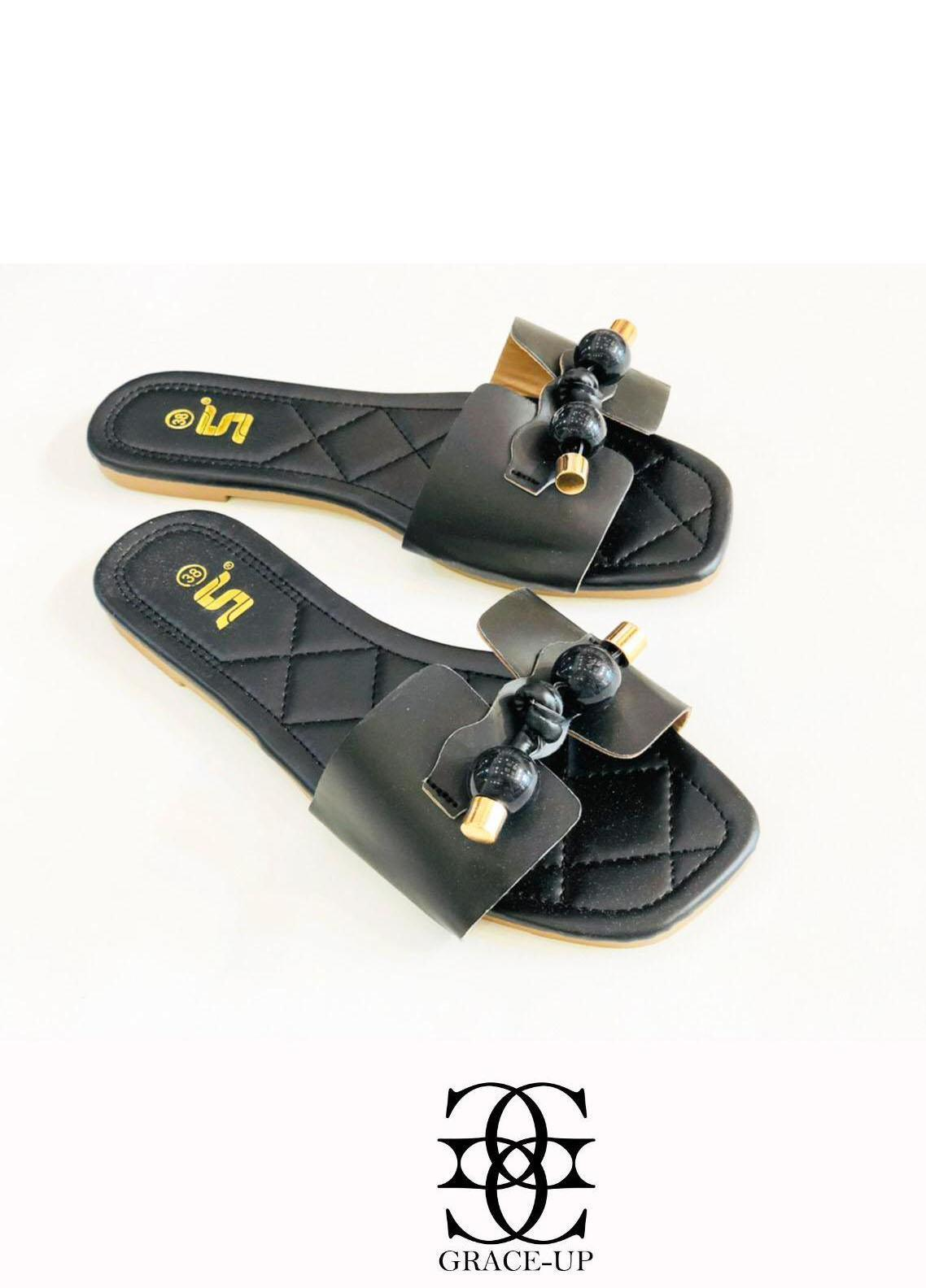 Grace Up Shoes Casual Style  Flat  A332 BLACK