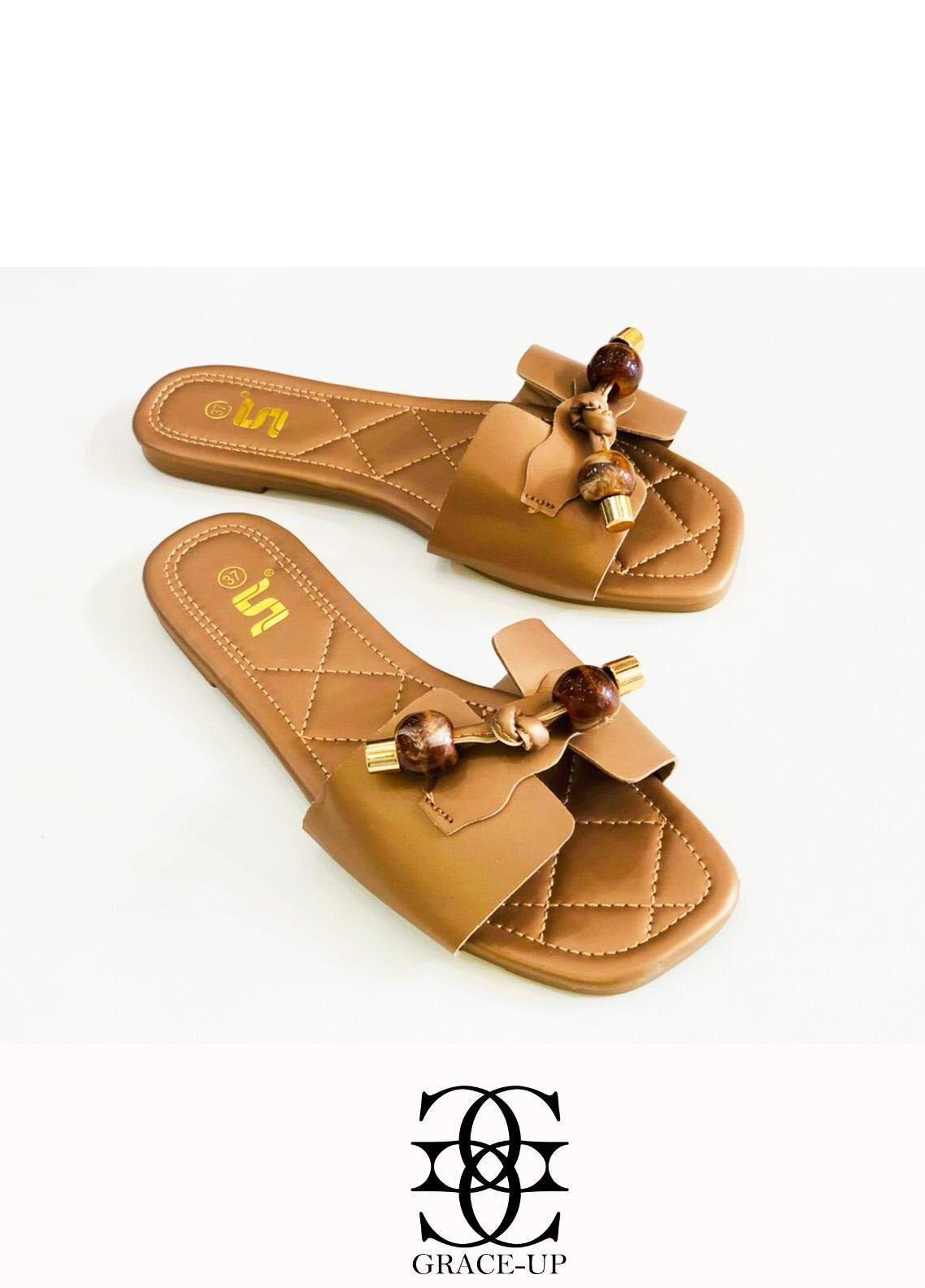 Grace Up Shoes Casual Style  Flat  A332 BROWN