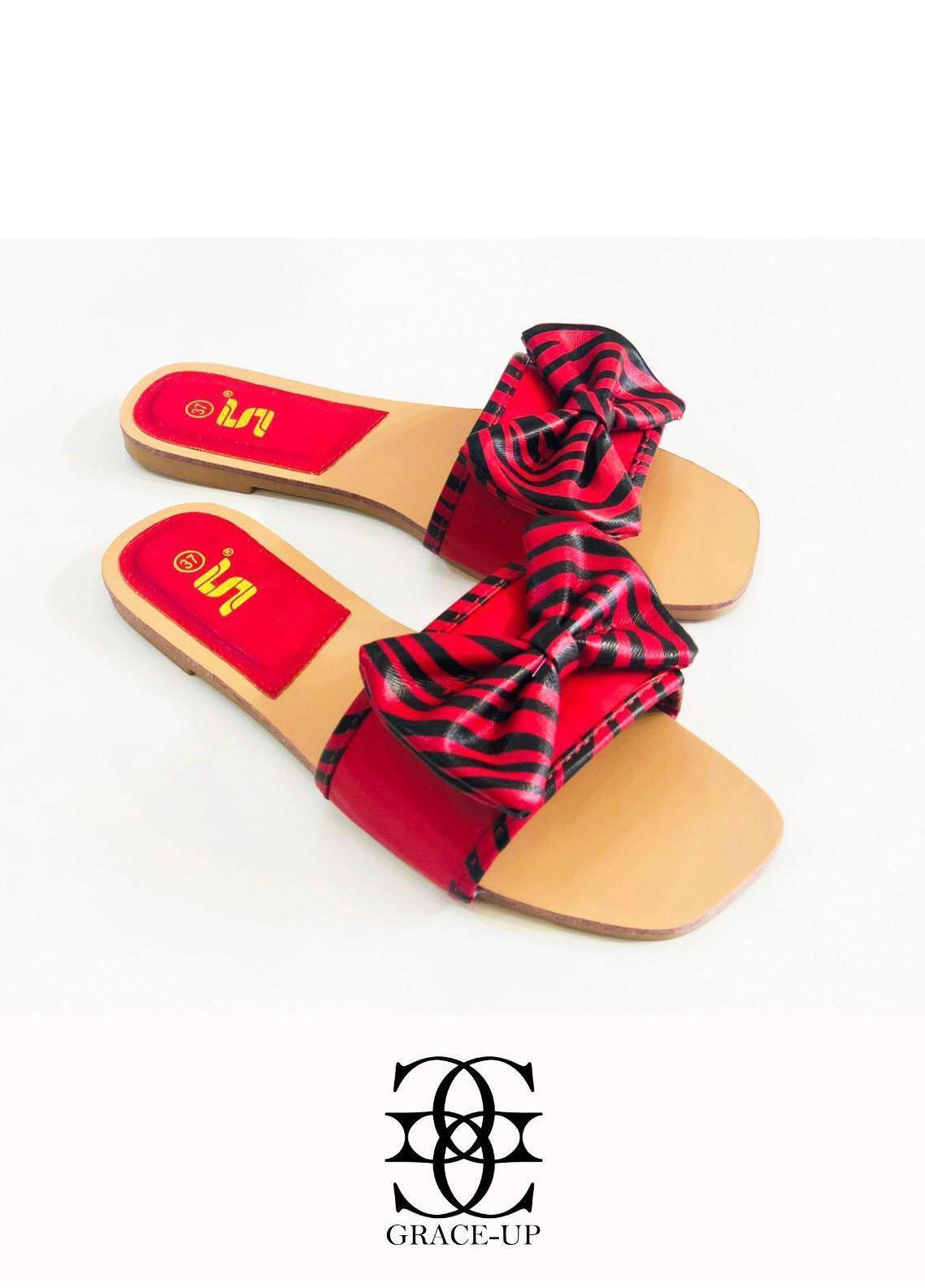 Grace Up Shoes Casual Style  Flat  A342 RED