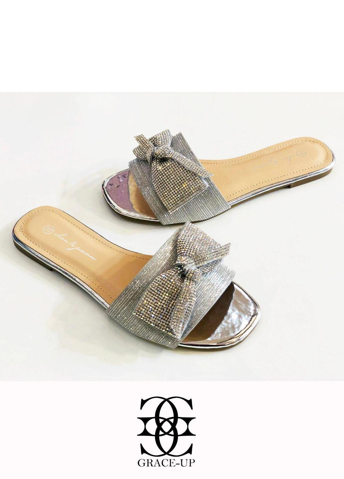 Grace Up Shoes Casual Style  Flat  A346 SILVER