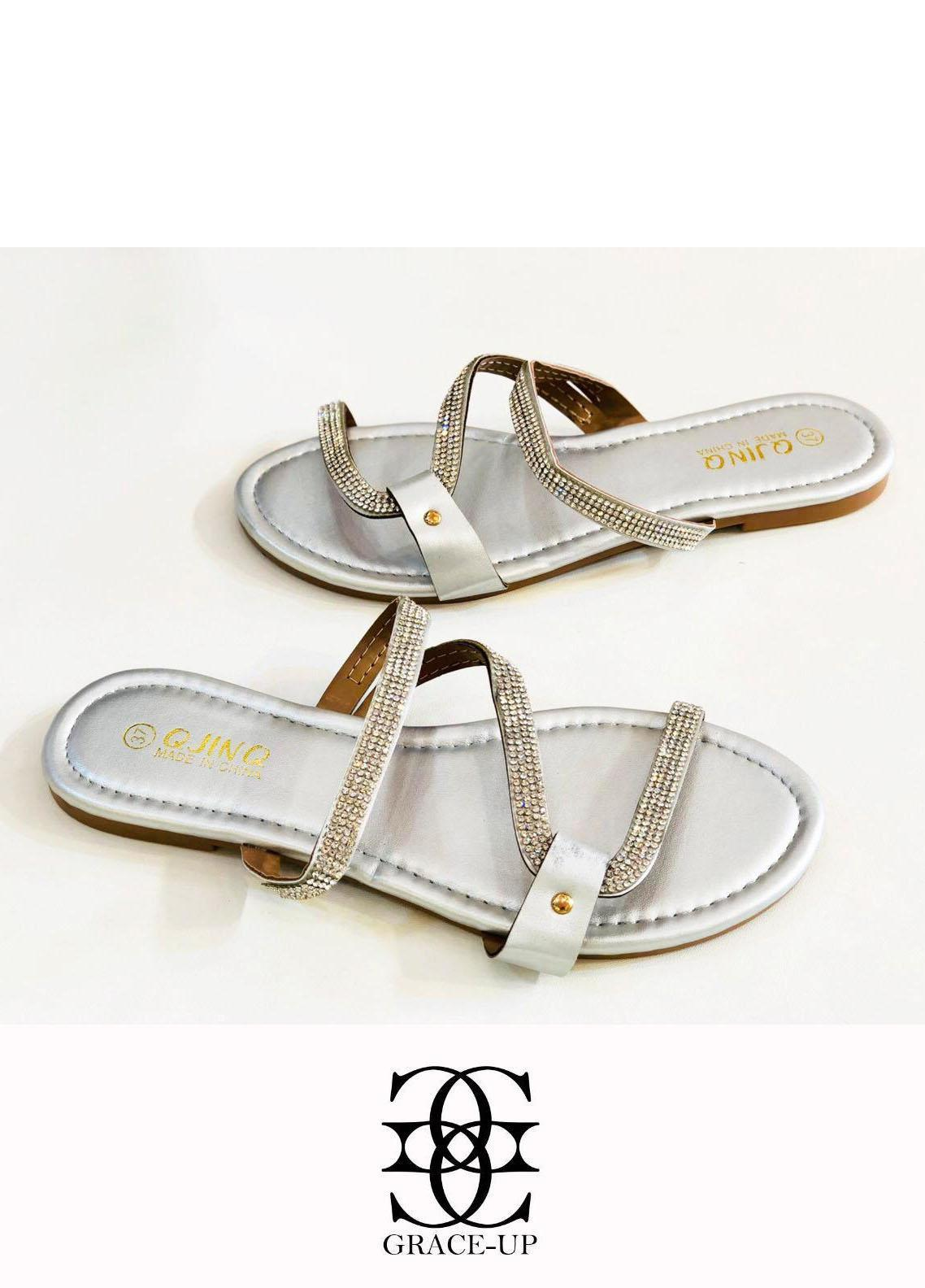 Grace Up Shoes Casual Style  Flat  W82 SILVER