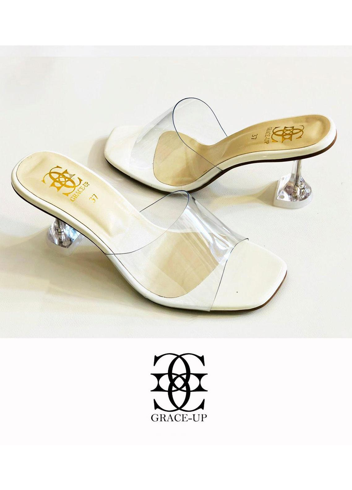 Grace Up Shoes Formal Style  Heel  817-white