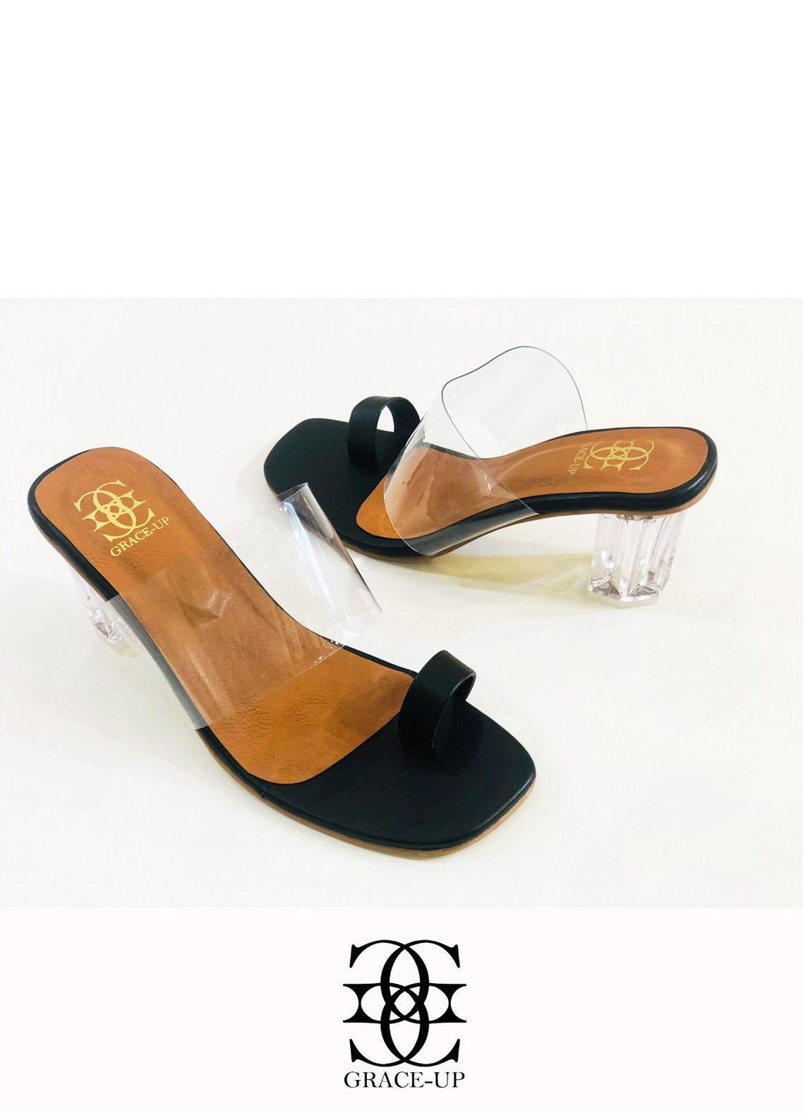 Grace Up Shoes Formal Style  Block Heels  844 BLACK