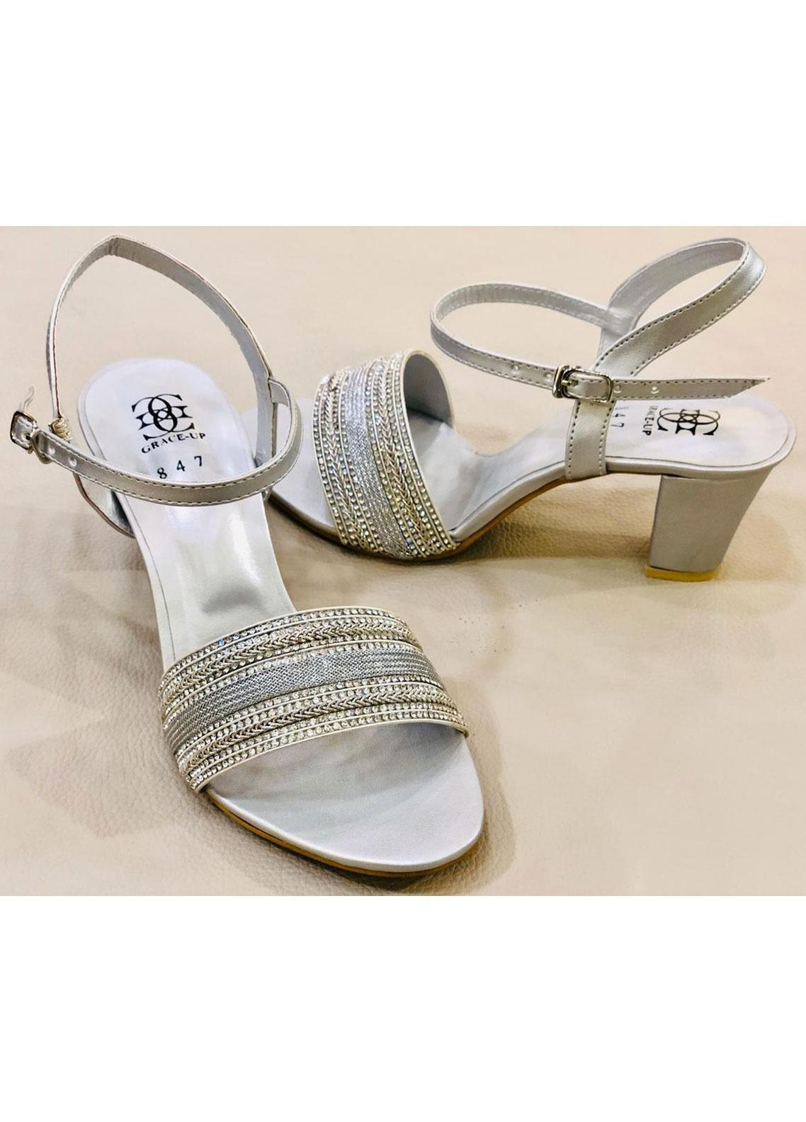 Grace Up Shoes Casual Style  Heel Shoes 971 SILVER