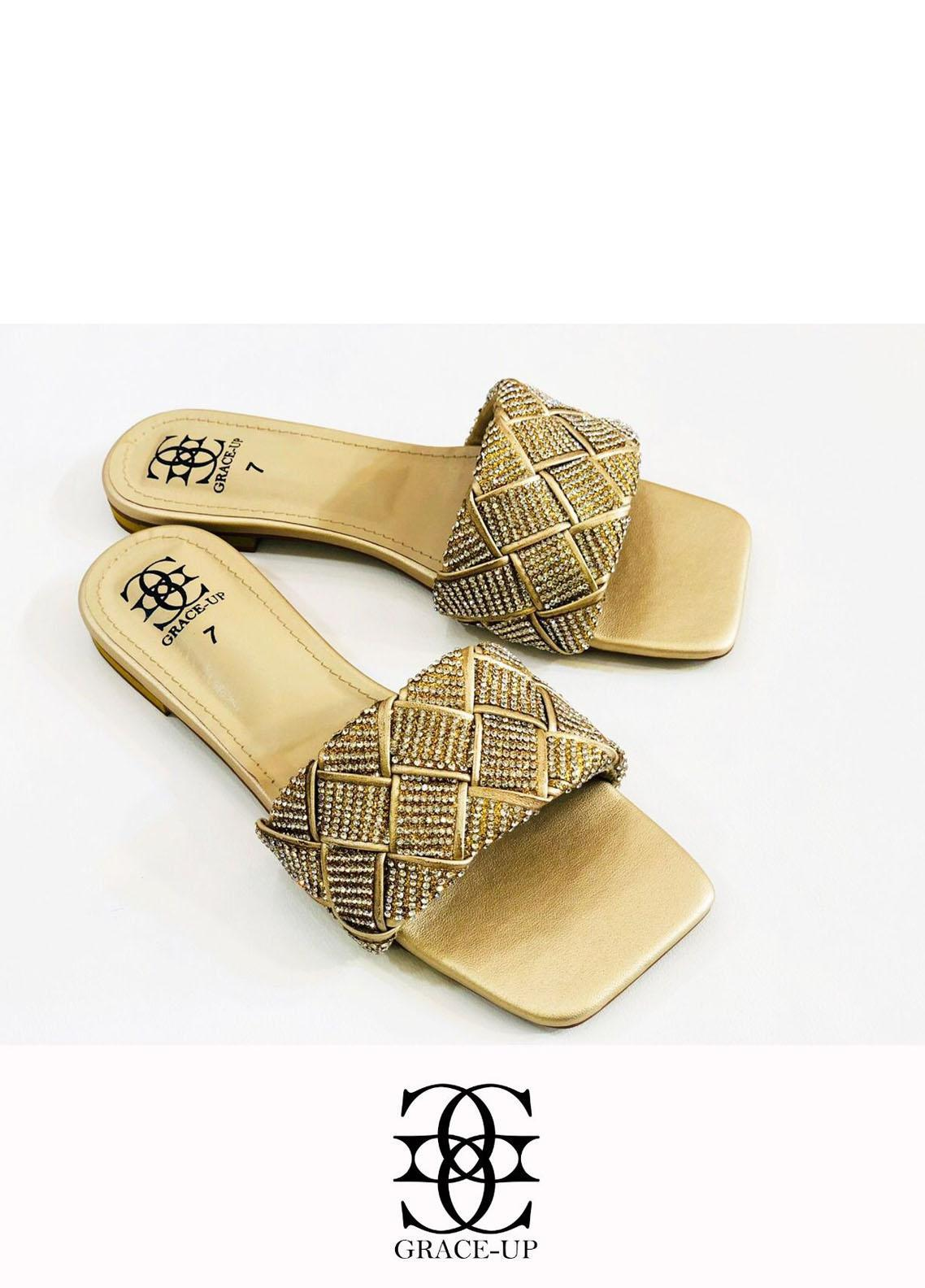 Grace Up Shoes Casual Style  Flats  724 GOLDEN