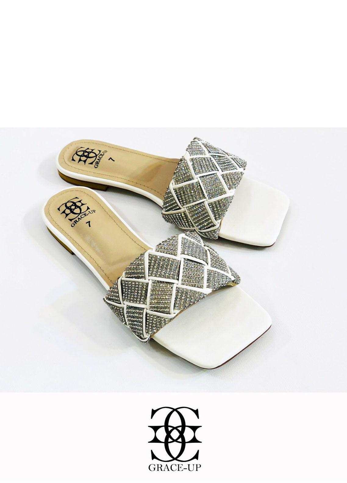 Grace Up Shoes Casual Style  Flats  724 WHITE