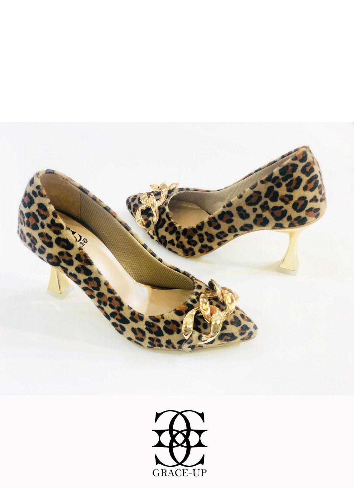 Grace Up Shoes Formal Style  Heels  O488 CHEETAH