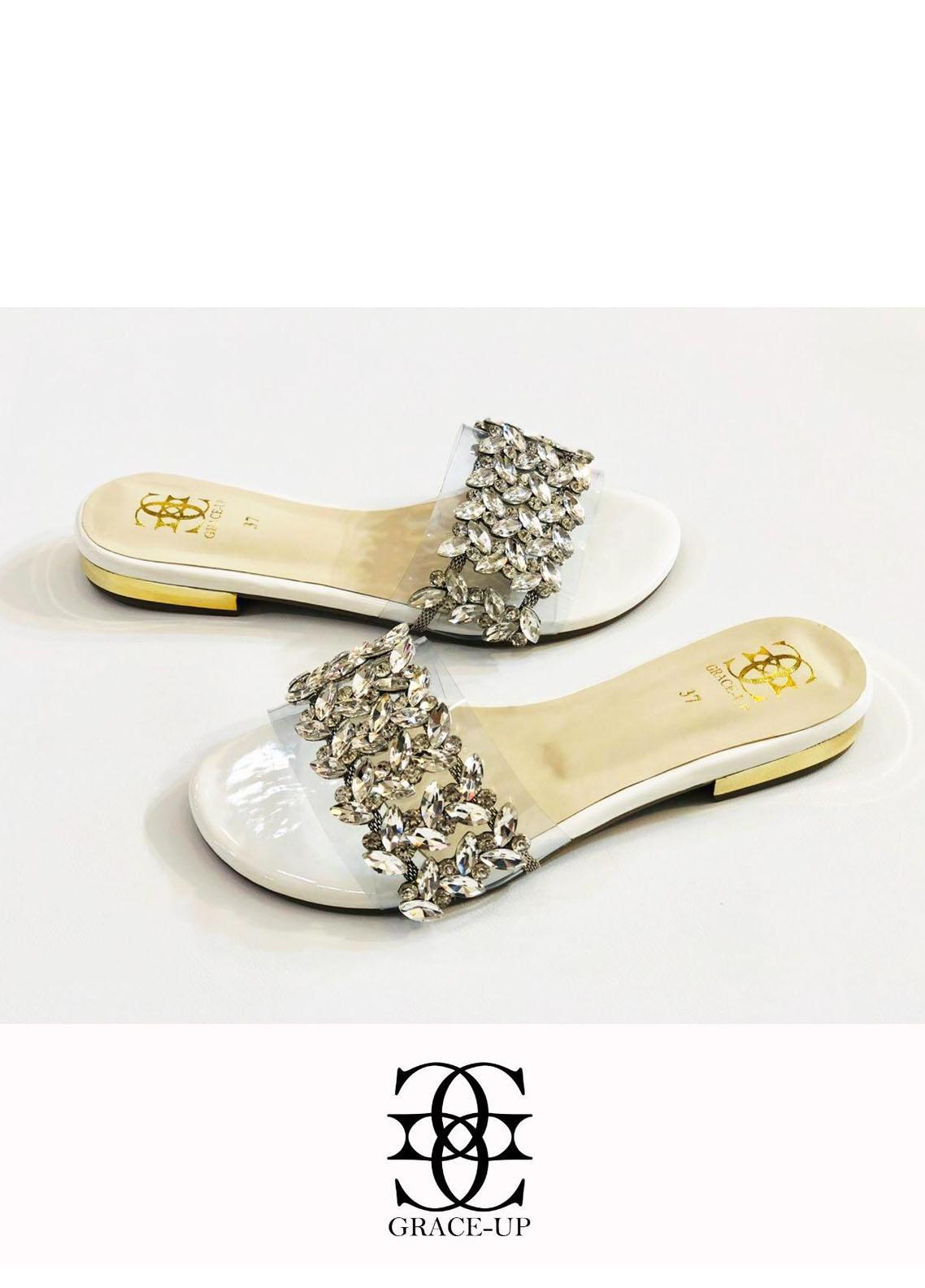 Grace Up Shoes Casual Style  Flats  719 White