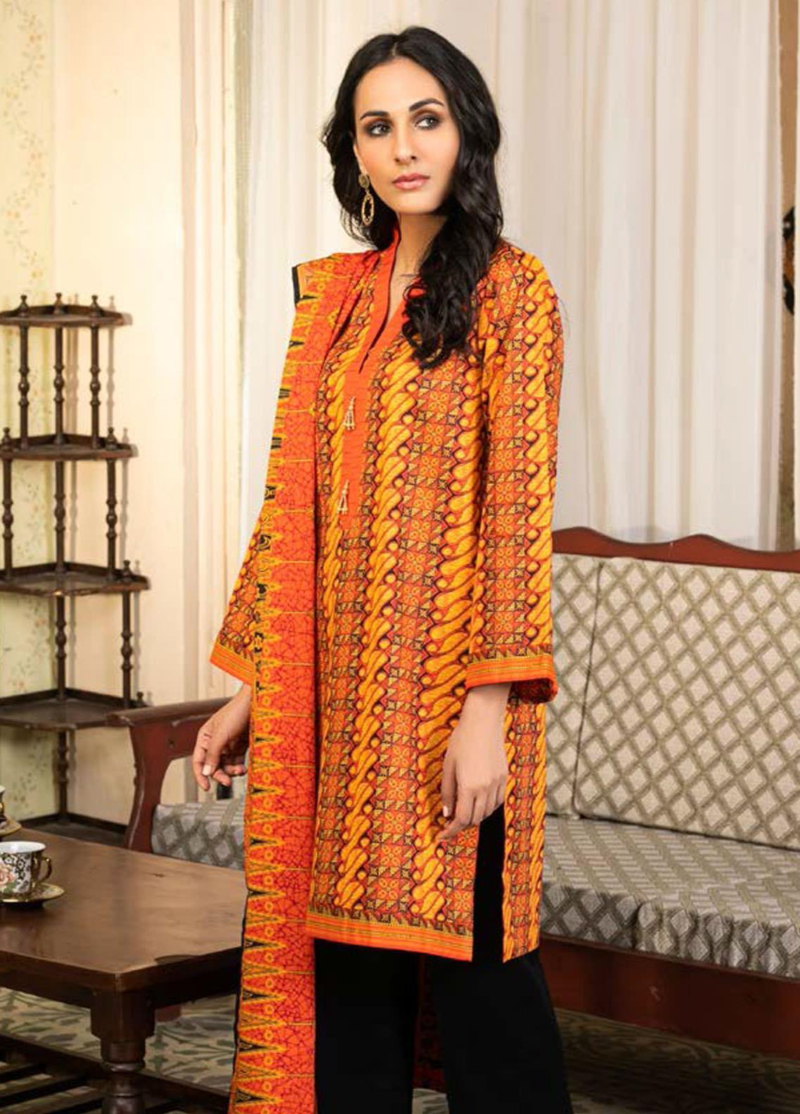 Guftagu by Orient Textiles Printed Lawn Suits Unstitched 3 Piece OT21G D-053-Orange - Festive Collection