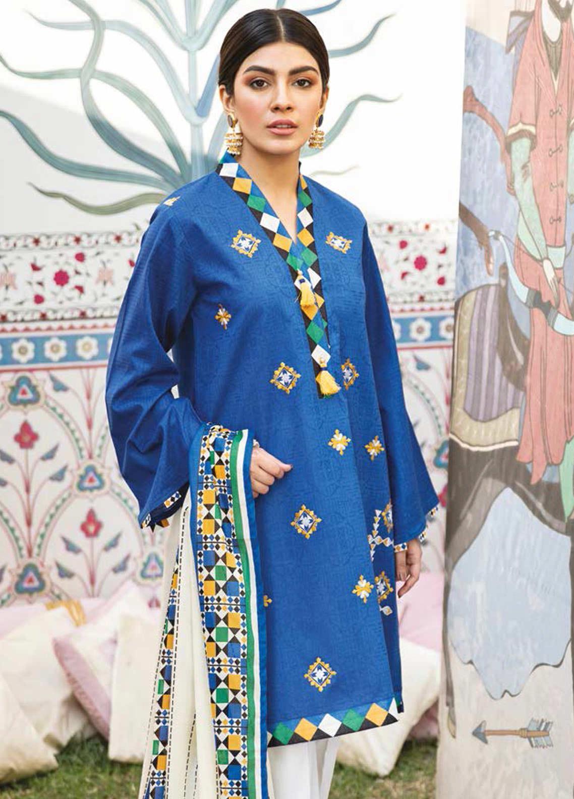 Guftagu by Orient Textiles Embroidered Jacquard Suits Unstitched 2 Piece OT21G D-065-Blue - Festive Collection