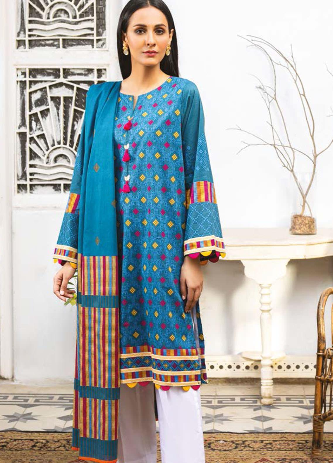 Guftagu by Orient Textiles Printed Lawn Suits Unstitched 2 Piece OT21G D-066-Blue - Festive Collection