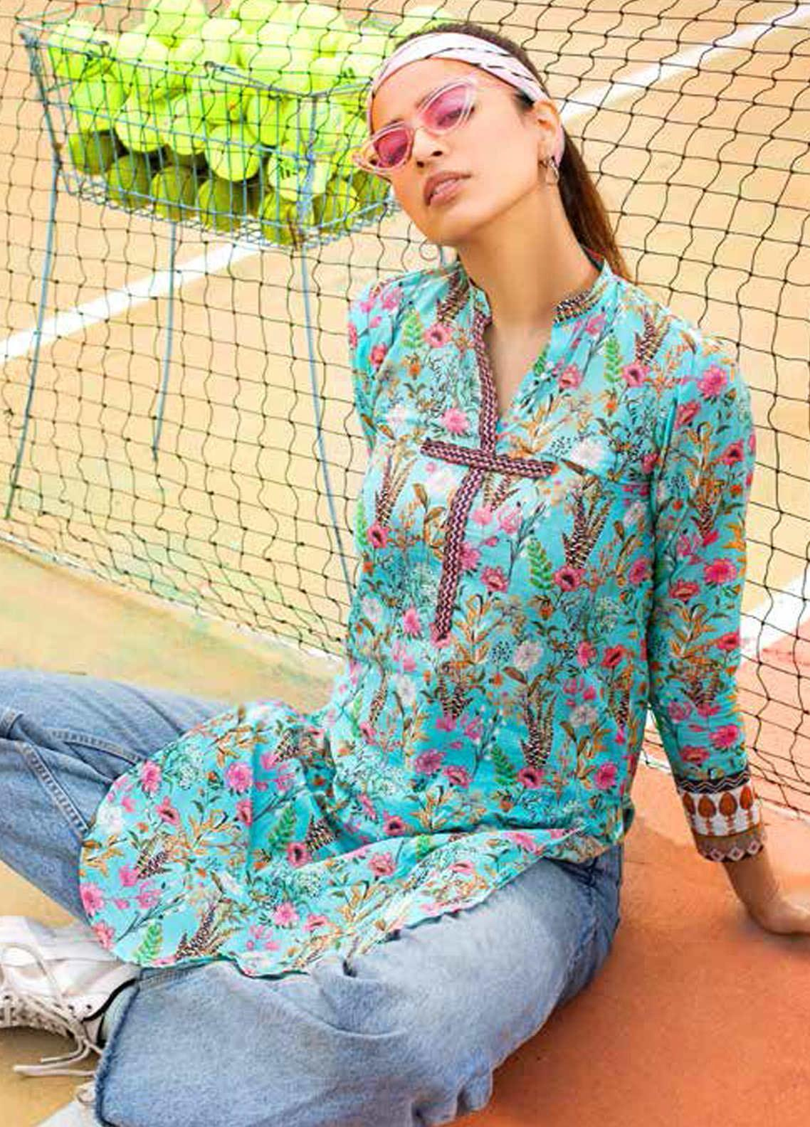 Gul Ahmed Printed Lawn  Unstitched Kurties GA21BG SL-943 A - Summer Collection