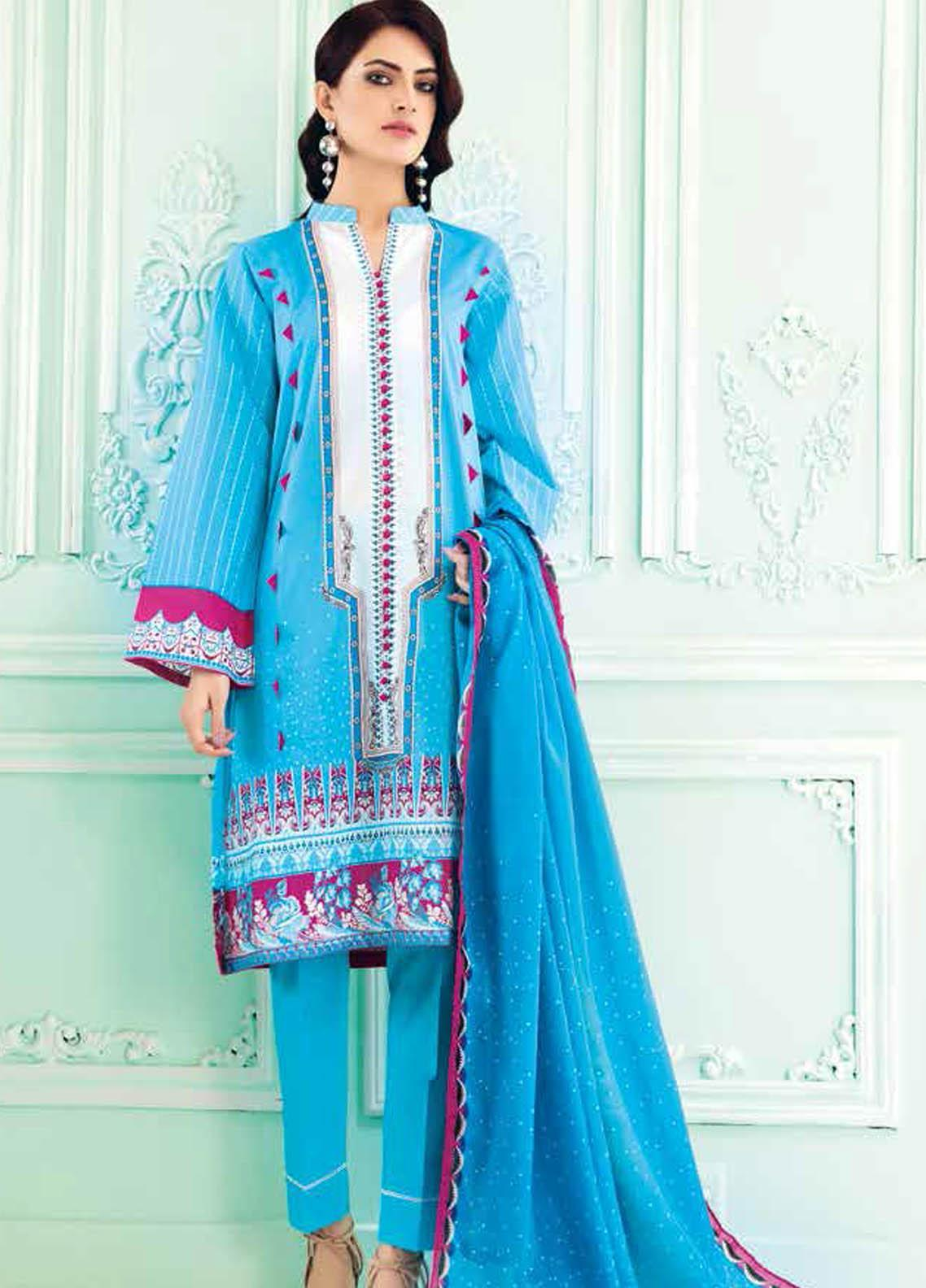 Gul Ahmed Embroidered Lawn Suits Unstitched 3 Piece GA21BL CL1001 - Summer Collection