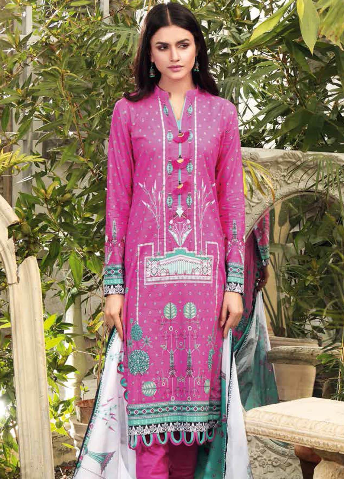 Gul Ahmed Printed Lawn Suits Unstitched 3 Piece GA21BL CL1028A - Summer Collection