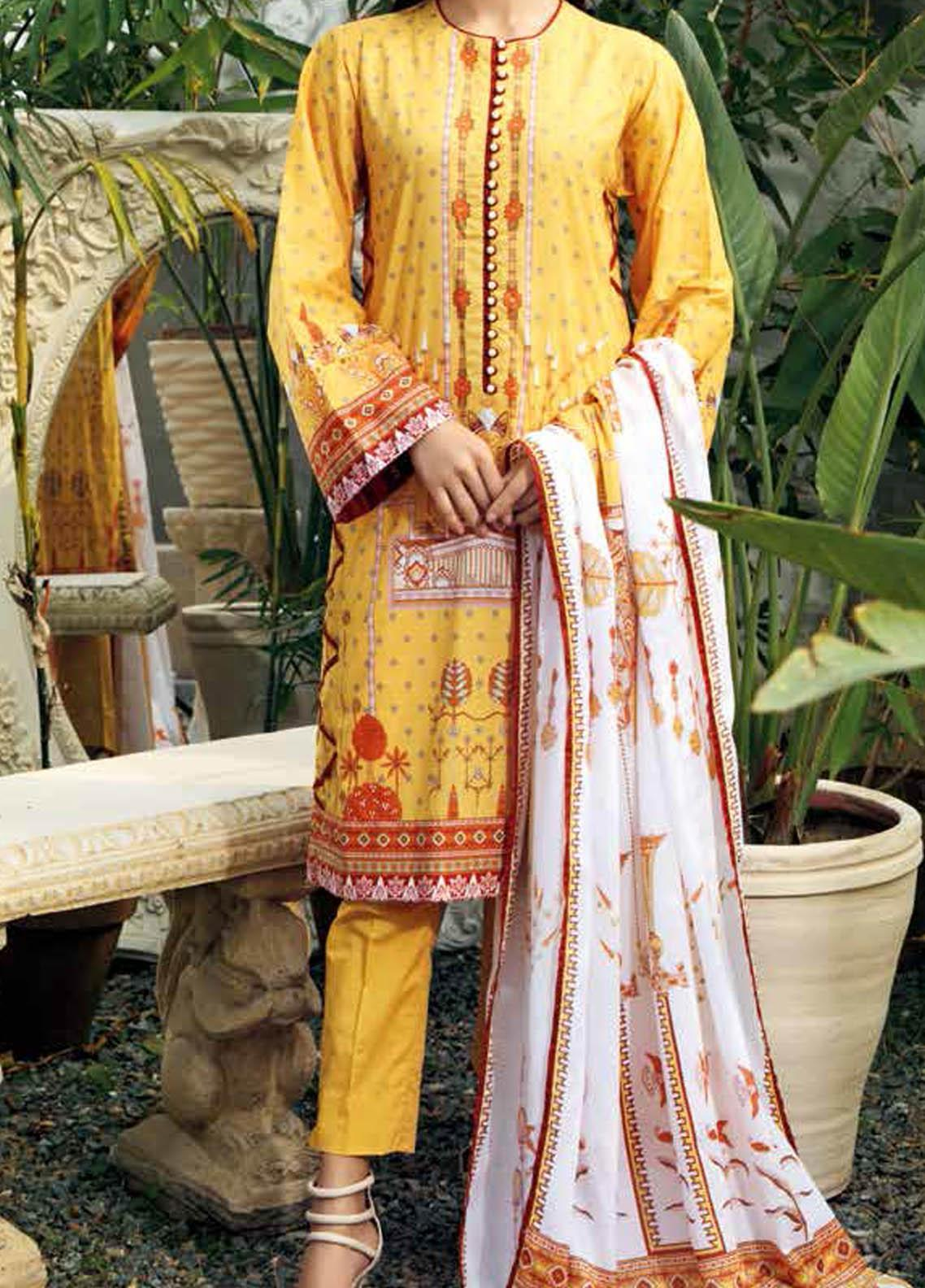 Gul Ahmed Printed Lawn Suits Unstitched 3 Piece GA21BL CL1028B - Summer Collection