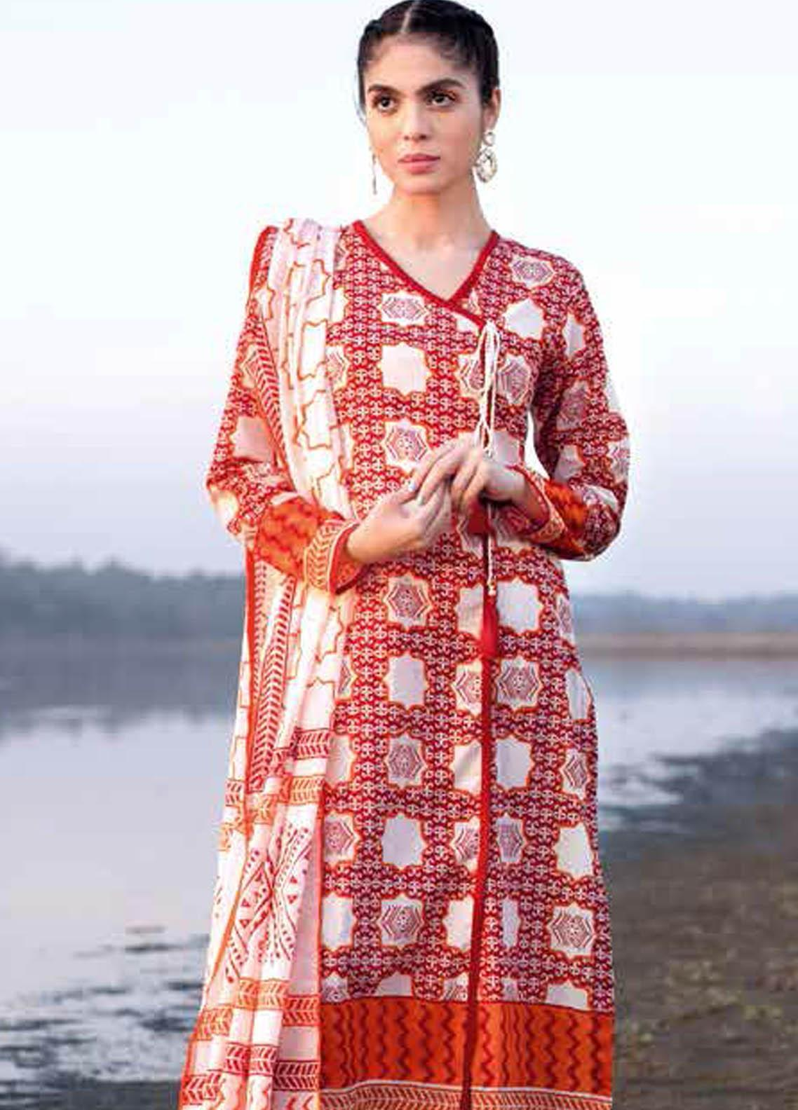 Gul Ahmed Printed Lawn Suits Unstitched 2 Piece GA21BL TL303A - Summer Collection