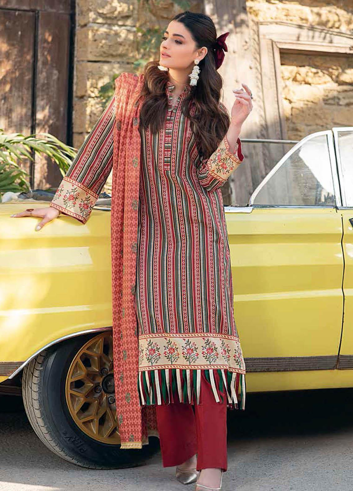 Gul Ahmed Printed Lawn Suits Unstitched 2 Piece GA21BL TL309A - Summer Collection