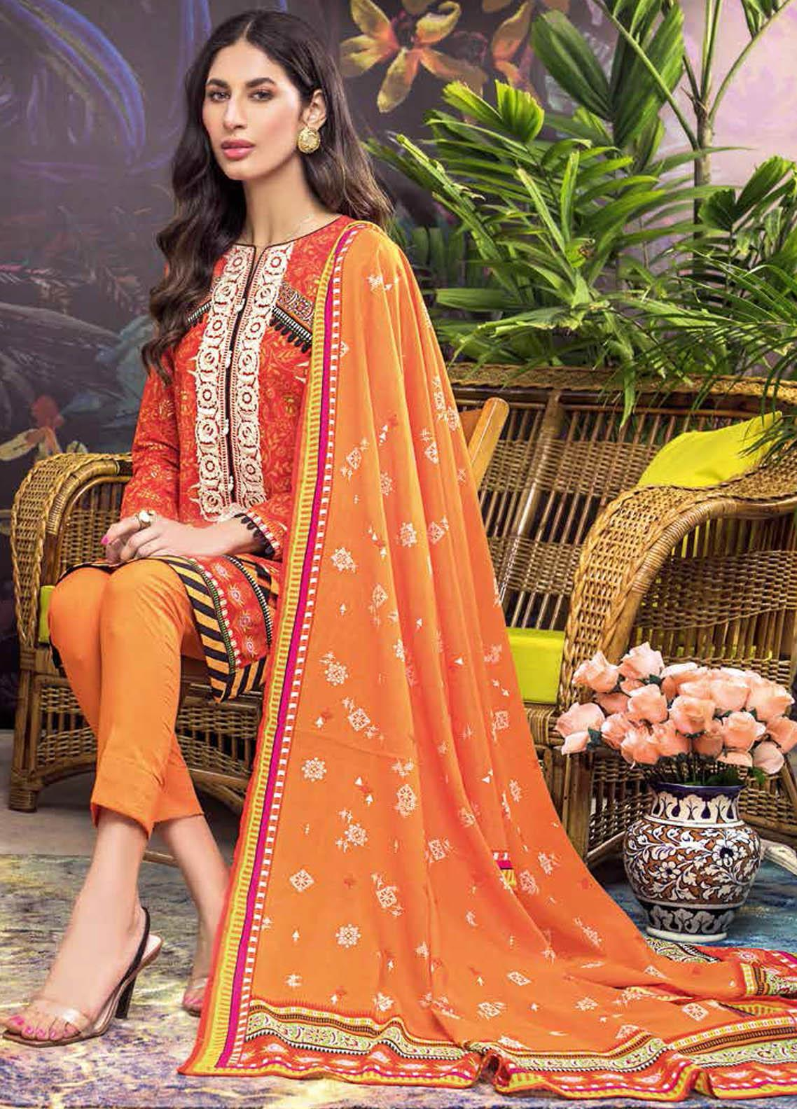 Gul Ahmed Embroidered Lawn Suits Unstitched 2 Piece GA21BL TL330 - Summer Collection