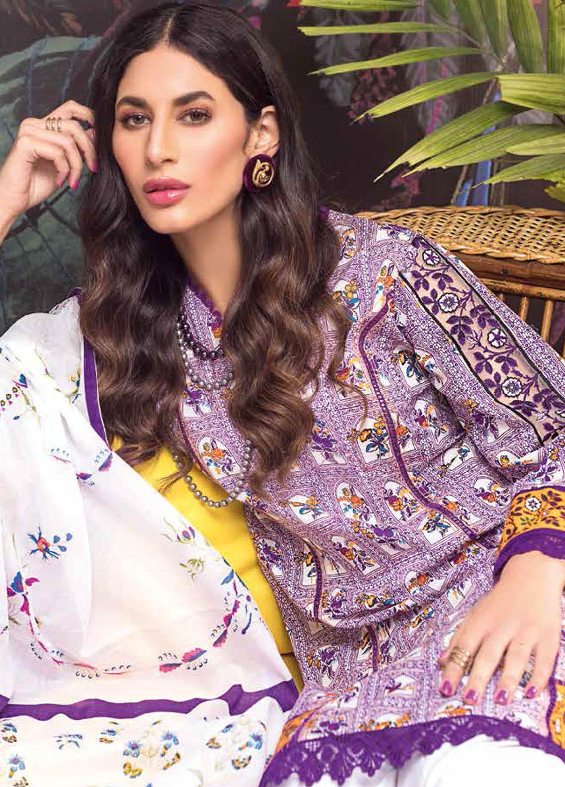 Gul Ahmed Embroidered Lawn Suits Unstitched 2 Piece GA21BL TL333 - Summer Collection