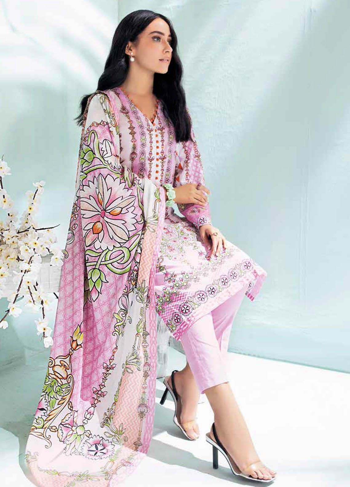 Gul Ahmed Printed Lawn Suits Unstitched 2 Piece GA21BL TL336A - Summer Collection