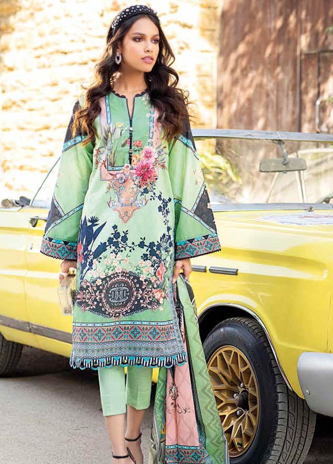 Gul Ahmed Printed Lawn Suits Unstitched 2 Piece GA21BL TL340A - Summer Collection