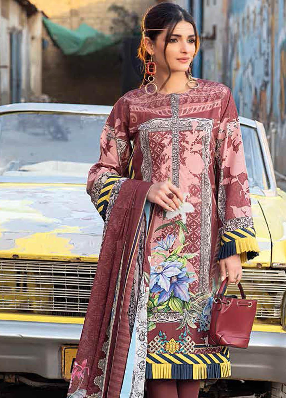 Gul Ahmed Printed Lawn Suits Unstitched 2 Piece GA21BL TL341B - Summer Collection