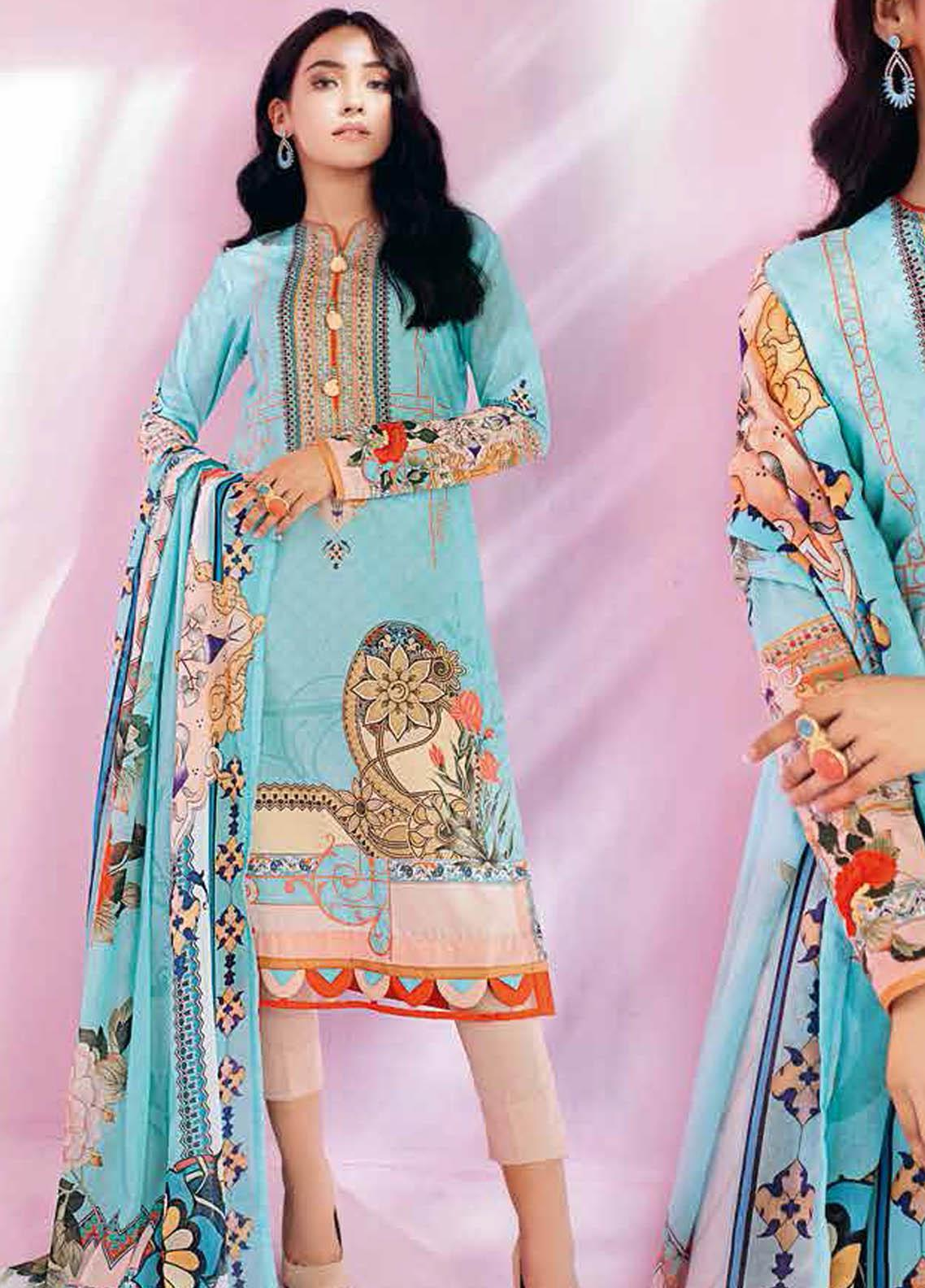 Gul Ahmed Printed Lawn Suits Unstitched 2 Piece GA21BL TL342A - Summer Collection