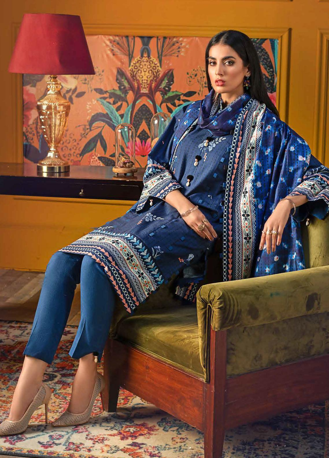 Gul Ahmed Printed Khaddar Suits Unstitched 3 Piece GA21WK K-12038B - Winter Collection