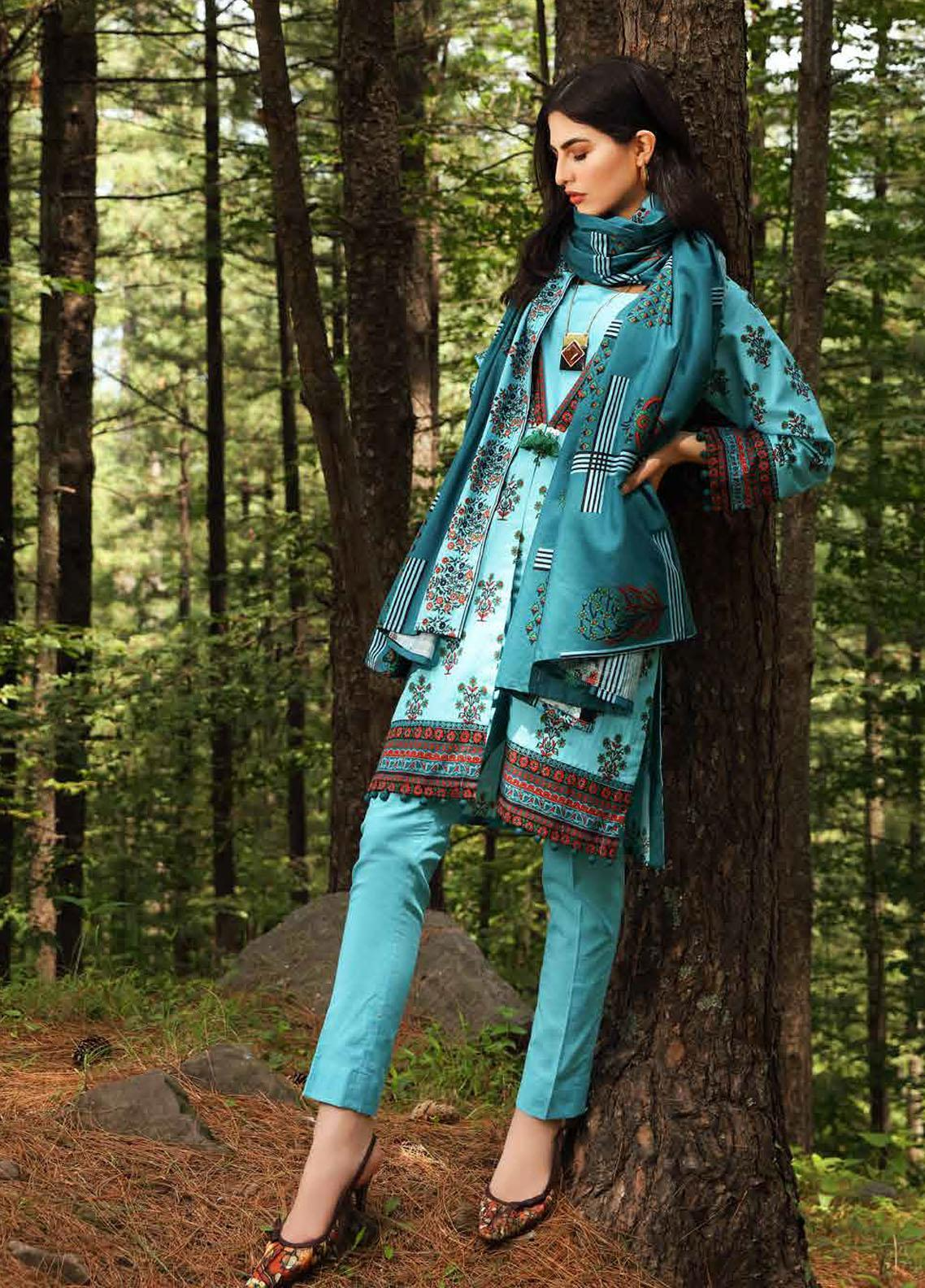 Gul Ahmed Printed Khaddar Suits Unstitched 2 Piece GA21WK TK-12010A - Winter Collection